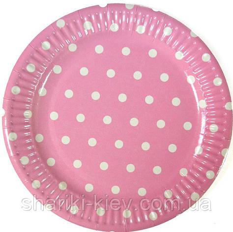 Тарелки Розовый Горошек 10 шт. бумажные на День рождения , фото 2