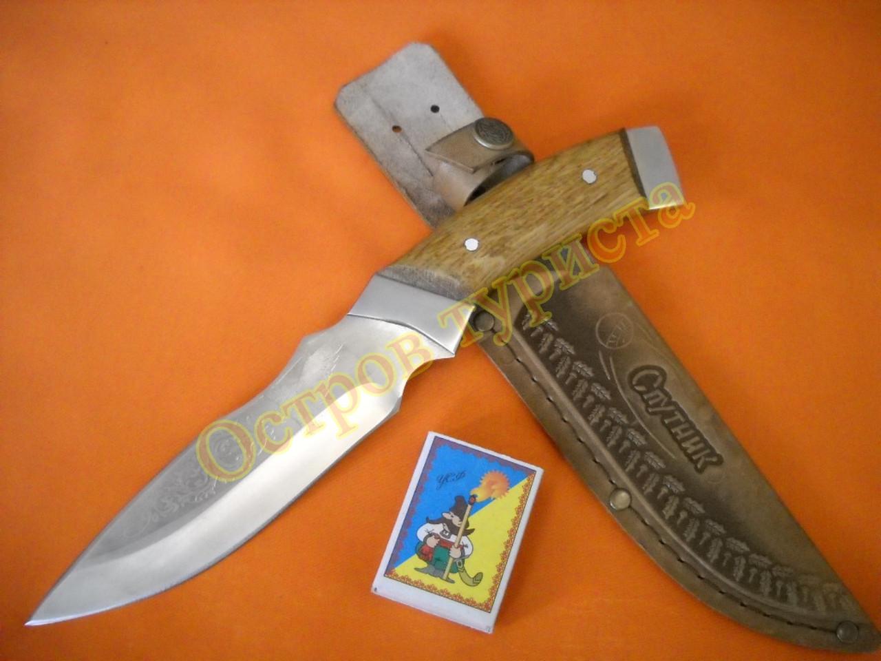 Нож охотничий Спутник 14 ножны кожа документы
