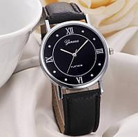Женские часы Geneva с черным ремешком
