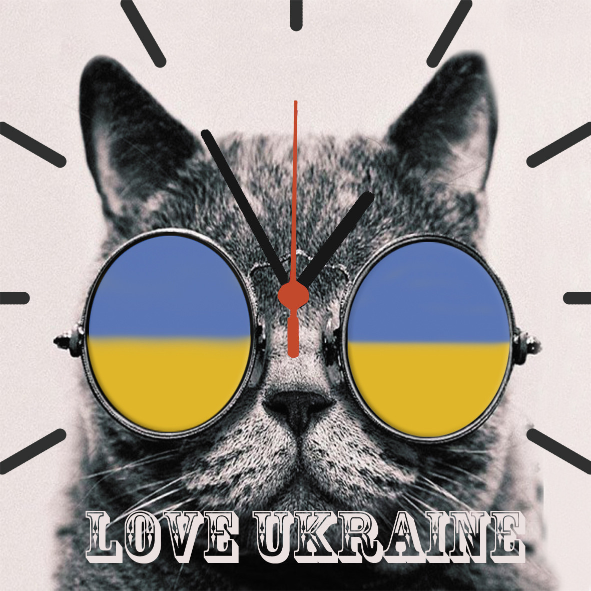 """Настенные часы на стекле """"Кот в очках Укр"""" кварцевые"""