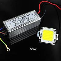 Комплект для сборки LED прожектора и уличного светильника 50Вт COB, драйвер IP65 Теплый белый