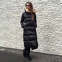 Женская длинная куртка стеганная на кнопках