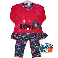 """Велюровый костюм """"Love"""" , для девочки от 2-3-4 лет"""