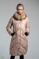 Куртка женская средней длинны стеганная с мехом