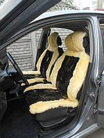 Автомобильные чехлы  из овчины желтого цвета с черными вставками АЧ2