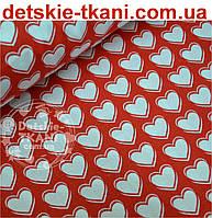 """Хлопковая ткань красного цвета """"Белые сердечки 2 см с контурами"""""""