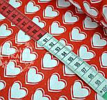 """Хлопковая ткань красного цвета """"Белые сердечки 2 см с контурами"""" № 409а, фото 3"""