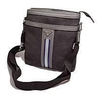 Молодежная мужская сумка на плече. Стильная, модная сумка с полоской. Удобная, надежная сумка. Код: КБН42