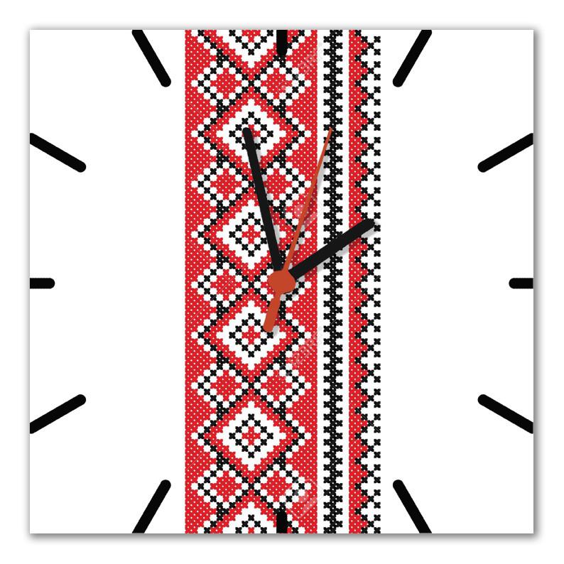 """Настінні годинники на склі """"Вишивка 1"""" кварцові"""