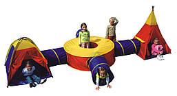 Детская игровая палатка с туннелями IGLOO 4 тоннеля, 2 палатки (домик-палатка с туннелем, вигвам)