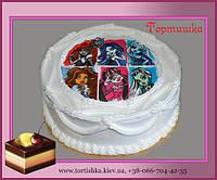 Детский торт с героями из мультфильма Монстер Хай