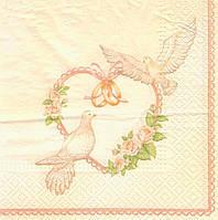 Салфетка декупажная свадебные голуби 6224