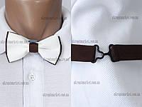 """Бабочка детская, классик белая с коричневым металлическая застежка до 12 лет """"Remen"""" LM-638"""