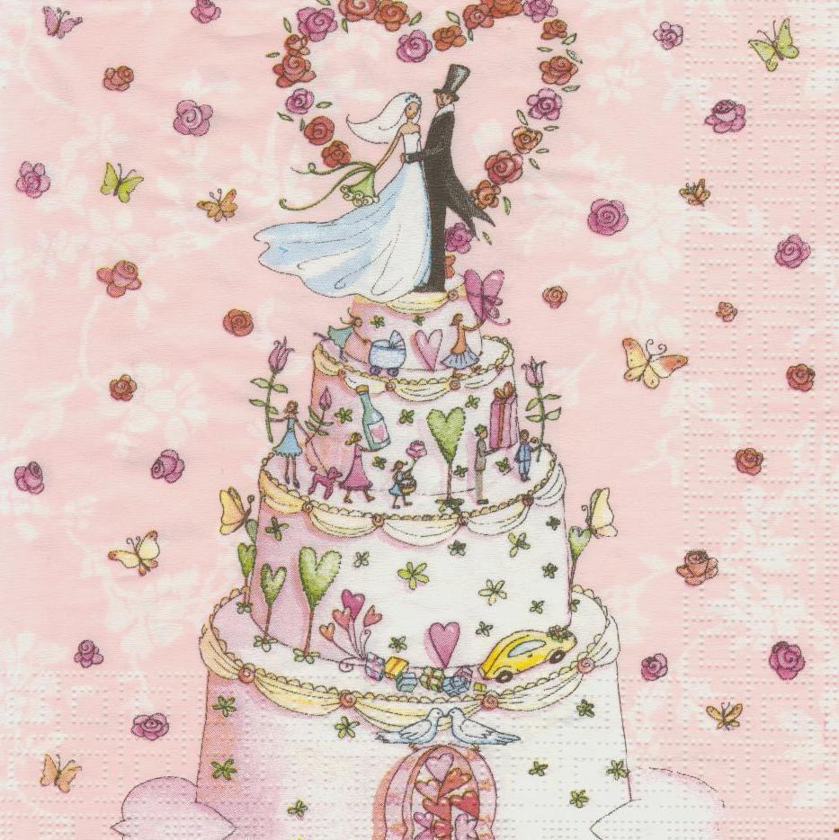 Салфетка декупажная Свадебный торт 2994