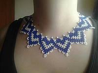 Намисто синьо-былого кольору (Ожерелье сине-белого цвета) AN-0057