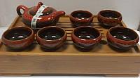 Набор для чайной церемонии на 6 персон с цветной глазурью