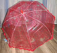 Прозрачный зонт куполом с рюшем красный