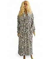 Халат махровый женский Леопард, воротник-шаль, р.р. 44-58