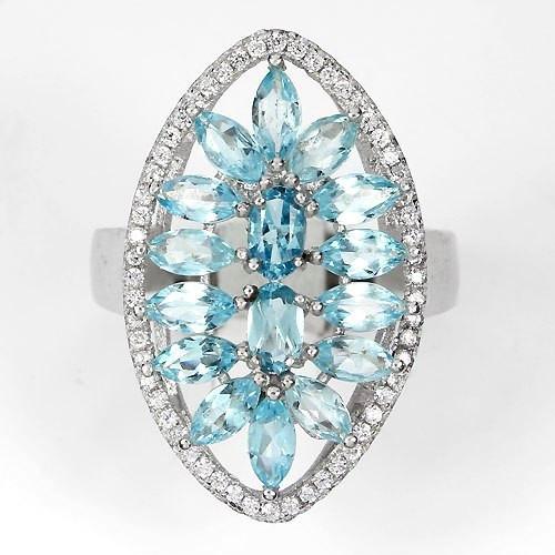 Кольцо с натуральными Небесно-Голубыми ТОПАЗАМИ и фианитами