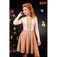 Нарядное трикотажное платье, приталенного силуэта-9441