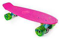 Пенни Борд FIsh Розовый 22″ Зеленые Колеса Мультиколор / пенниборд скейт (penny board), скейтборд