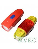Велофара + задний фонарь для велосипеда KK890 ( 8LED/5LED, 3xAAA), красный