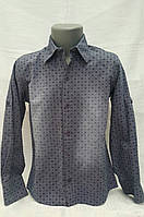 Детская рубашка для мальчиков 110,116,122,128 роста Синий узор