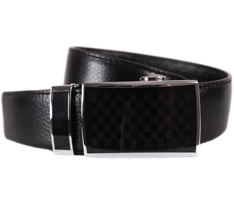 Мужской ремень из натуральной кожи под брюки 301141 черный