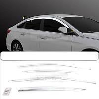 Хромовые ветровики дефлекторы на окна Hyundai Soanata 2015-2017 новые (Made in Korea)
