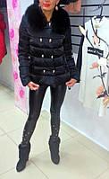Молодежная стильная женская куртка с воротником из песца