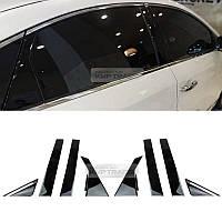 Hyundai Sonata 2015-17 черные глянцевые накладки на дверные стойки новые (Made in Korea)