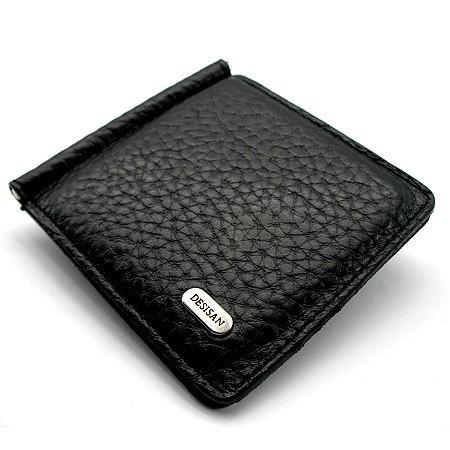 Зажим для купюр кожаный черный Desisan 208-011 Турция