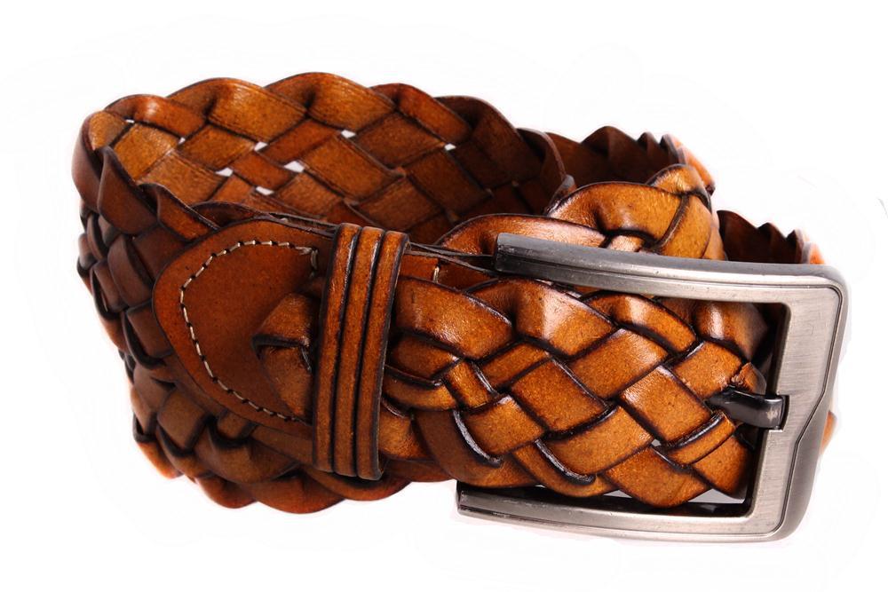 Чоловічий ремінь з натуральної шкіри під штани 304910 коричневий