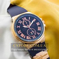 Наручные мужские часы Бельгийские Ulysse Nardin Maxi Marine gold blue