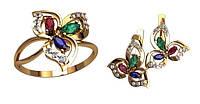 Красивый золотой ювелирный набор из кольца и сережек 585* пробы с Фианитами