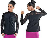 Блузка женская с гипюром по рукаву 21- 5195