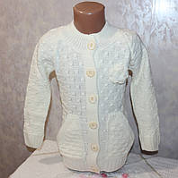 Теплая вязанная кофта на девочку на пуговицах  4-5,6-7,8-9 лет