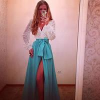 Элегантное женское платье в пол верх гипюр низ кристалл, длинный рукав
