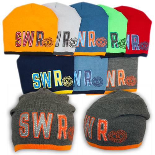 """Вязаная шапка с защипом для мальчика с принтом """"SWR"""", на флисе BSK 83F"""