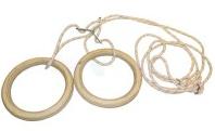 Кольца гимнастические подвесные UR R-4457 (канат-капрон d-10мм, кольцо-фанера d-24см,р-р 24x30мм)