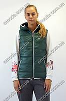 Молодежная  спортивная безрукавка с логотипом Nike бутылочного цвета