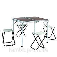 Набор для пикника (стол+4стула) TO-8833-A (р-р стола 86*80*69см, MDF-5мм, алюминий, ткань)