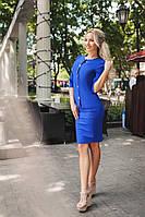 Модный синий  женский синий костюм на пуговицах с брошью Шанель Арт-1659/25