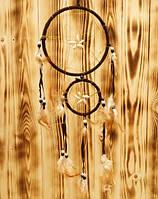 Ловец снов из 2 кругов с каури коричневый