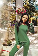 Стильный зеленый женский костюм штаны+кофта. Арт-1662/25