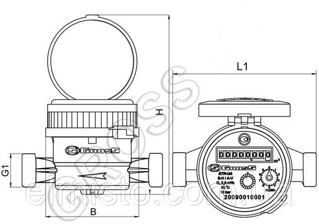 счётчика воды Gross  ETR-UA 15/110
