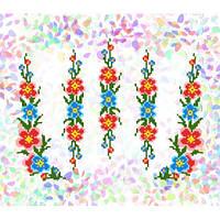 """Флизелин водорастворимый пришивной с рисунком """"Мальвы"""" Confetti 219"""