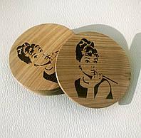 """Костер """"Круг Одри Хепберн"""" 6 штук ( подставка под кружки) из дерева"""