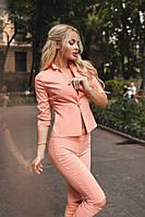 Женский оранжевый костюм  (пиджак на пуговице+ брюки ) . Арт-1670/25