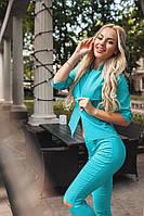 Женский голубой костюм  (пиджак на пуговице+ брюки ) . Арт-1670/25